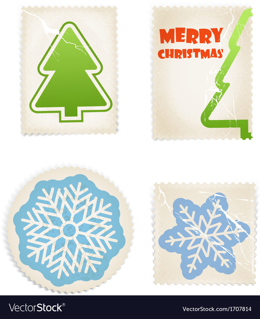 Vintage scratched post stamps woth christmas signs vector | Price: 1 Credit (USD $1)
