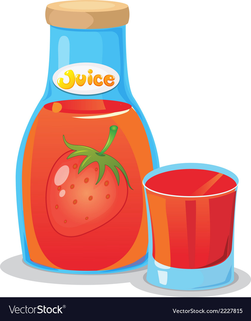 A bottle of strawberry juice vector | Price: 1 Credit (USD $1)