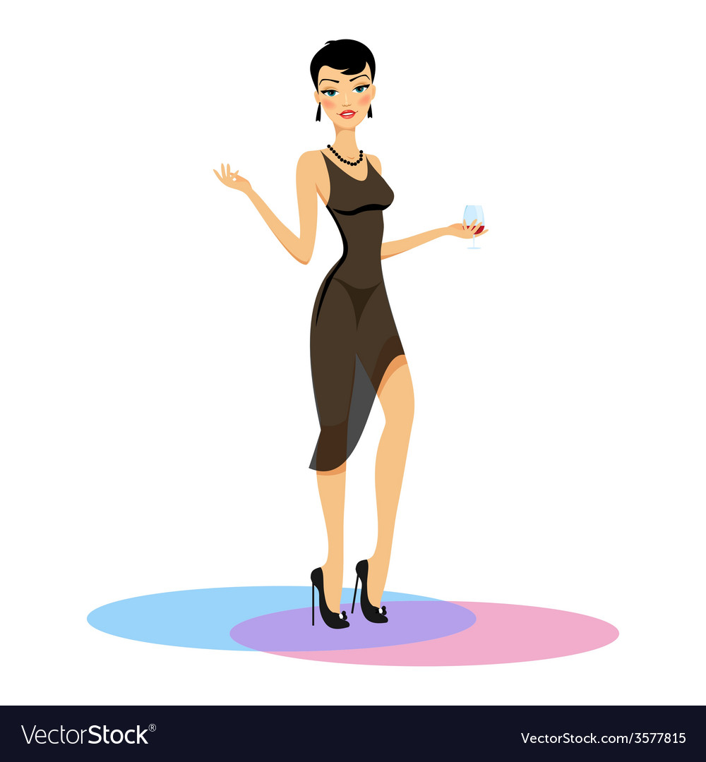 Beauty in evening dress with a glass of wine vector | Price: 1 Credit (USD $1)