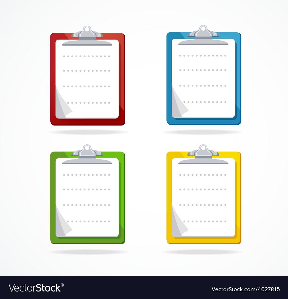 Clipboard icon set flat design vector | Price: 1 Credit (USD $1)