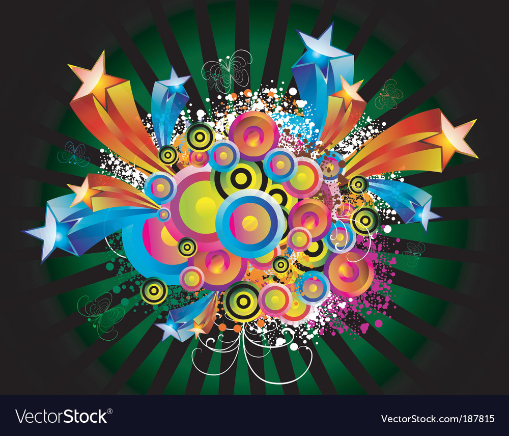 Fantasy circles and star background vector | Price: 3 Credit (USD $3)