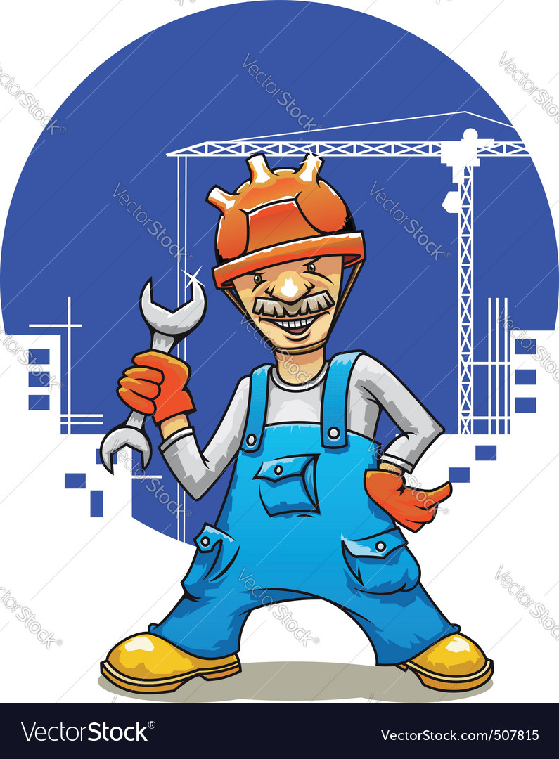 Funny smiling builder vector | Price: 1 Credit (USD $1)