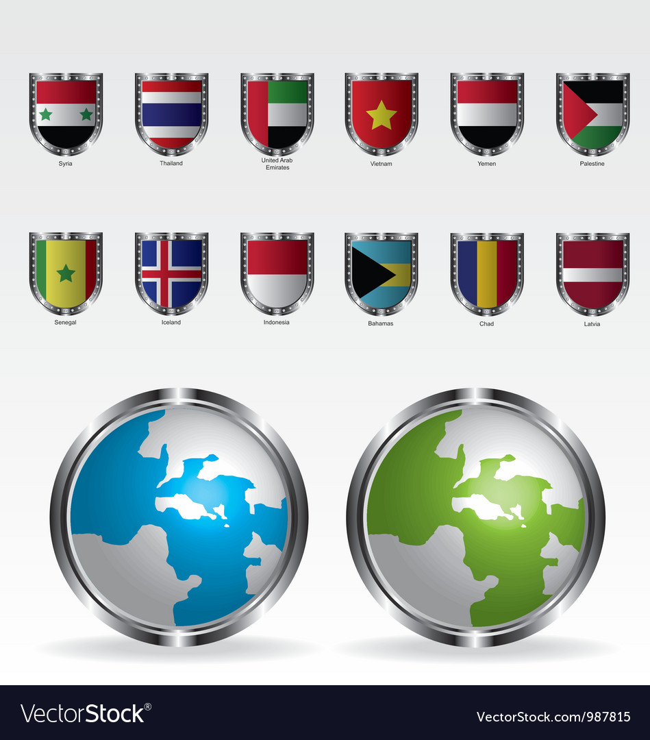 Globe map and flags metal shield vector | Price: 1 Credit (USD $1)