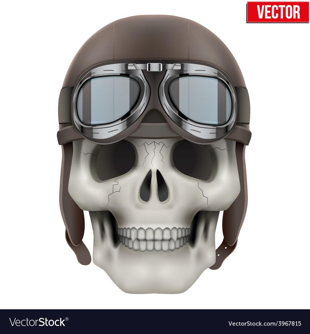 Human skull with retro aviator or biker helmet vector | Price: 1 Credit (USD $1)