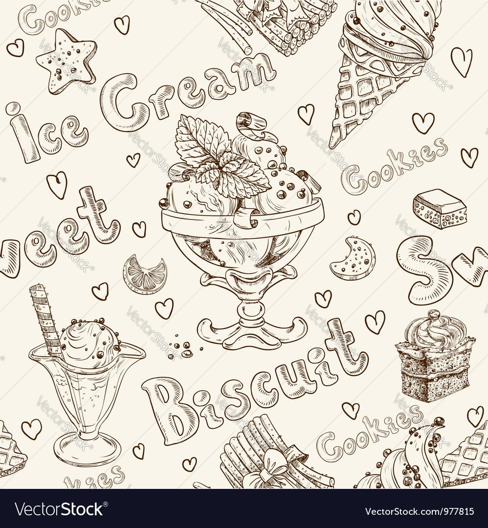 Ice cream seamless background vector   Price: 1 Credit (USD $1)