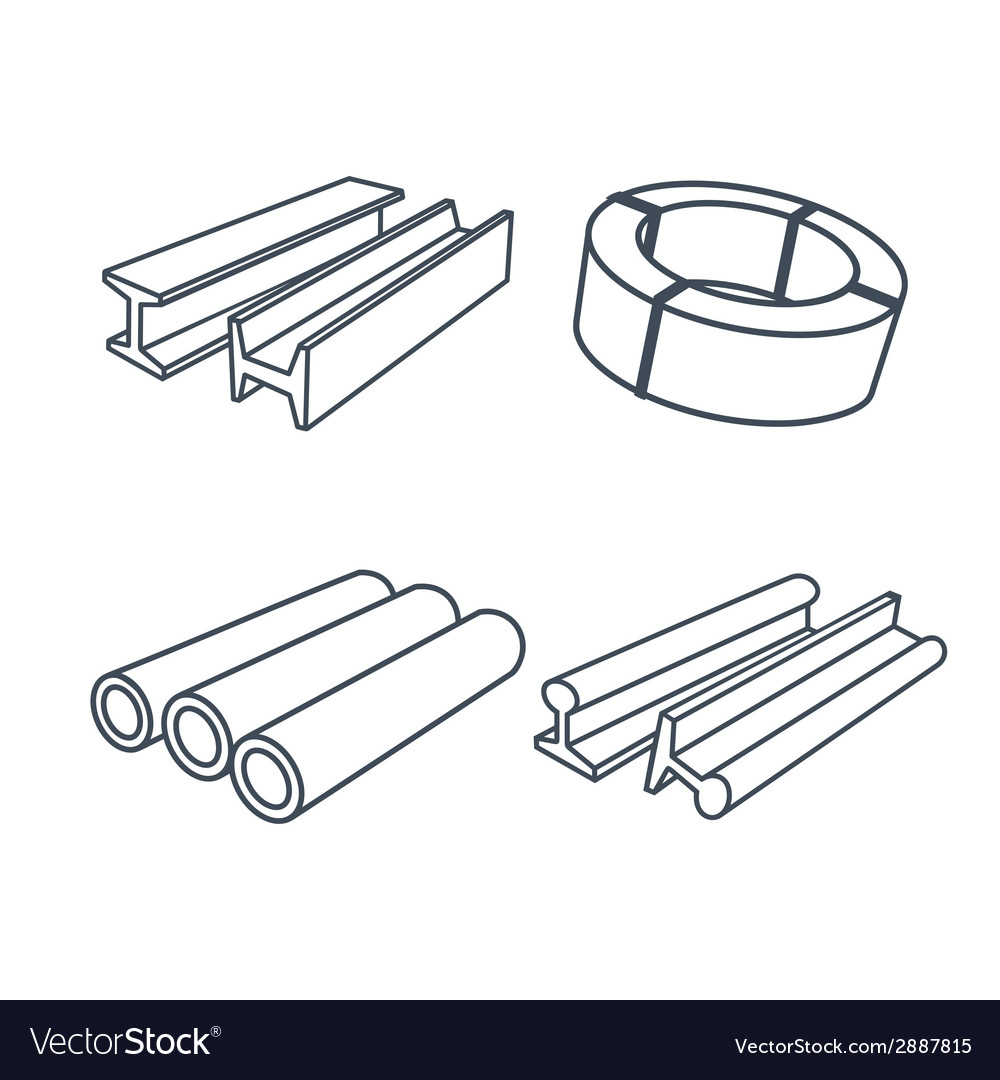 Metallurgy products icons set vector | Price: 1 Credit (USD $1)