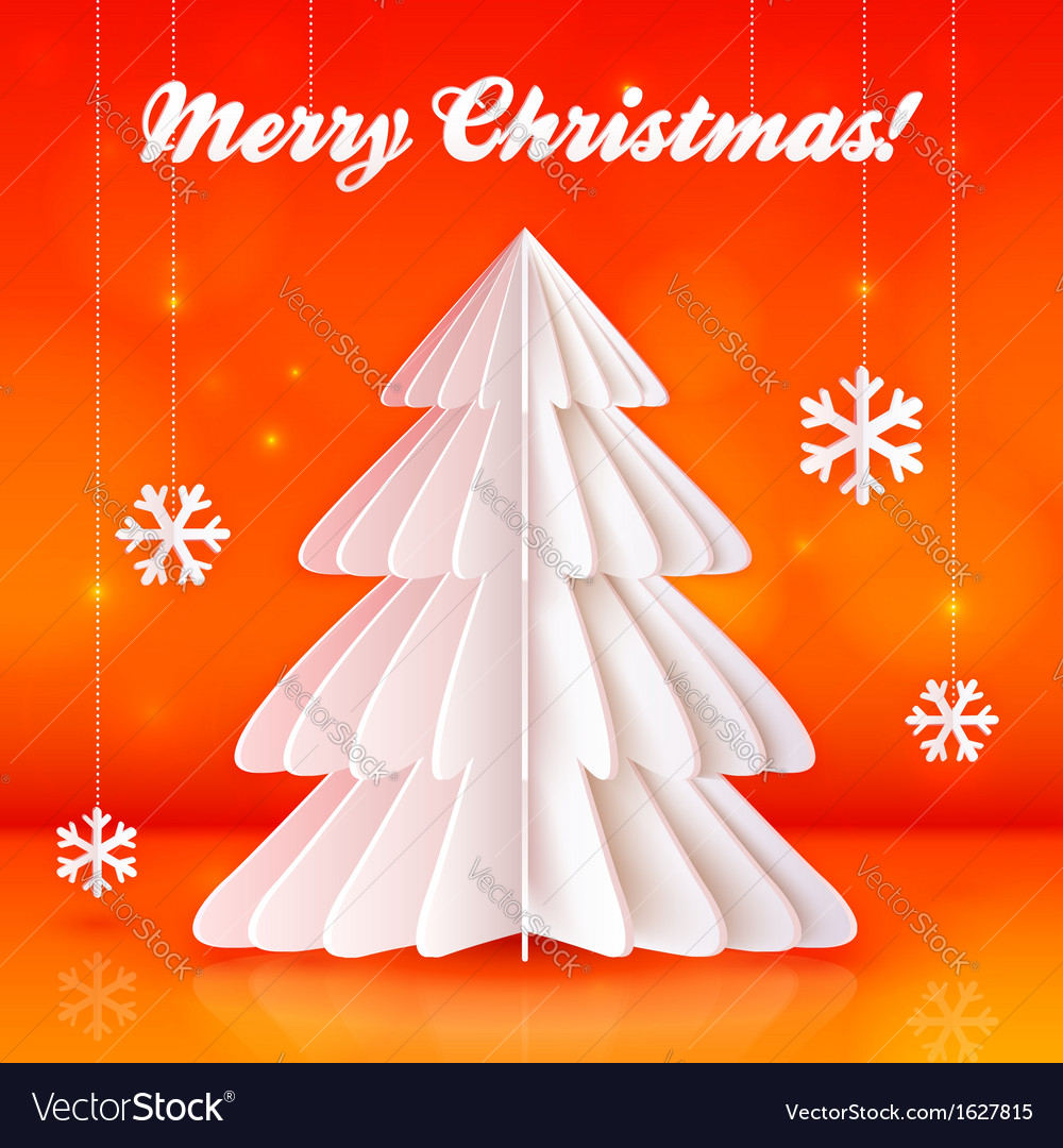 Origami paper christmas tree on orange background vector | Price: 1 Credit (USD $1)