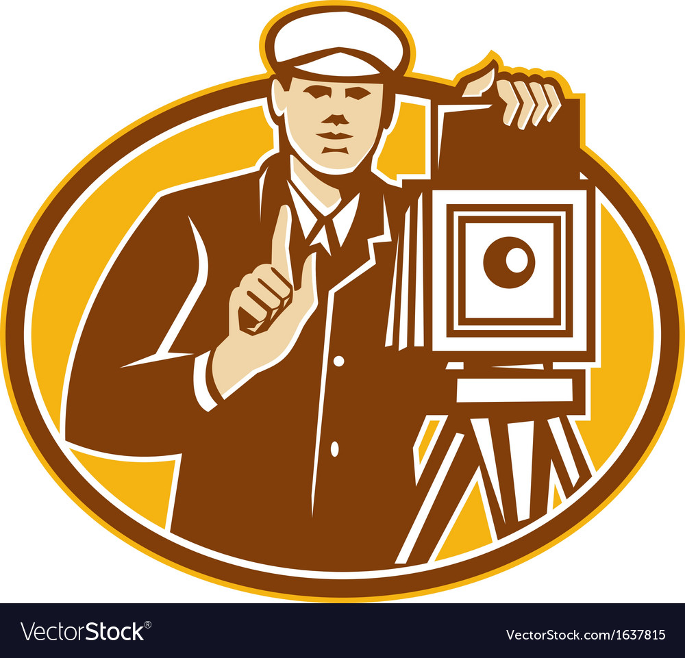 Photographer vintage camera front retro vector | Price: 1 Credit (USD $1)