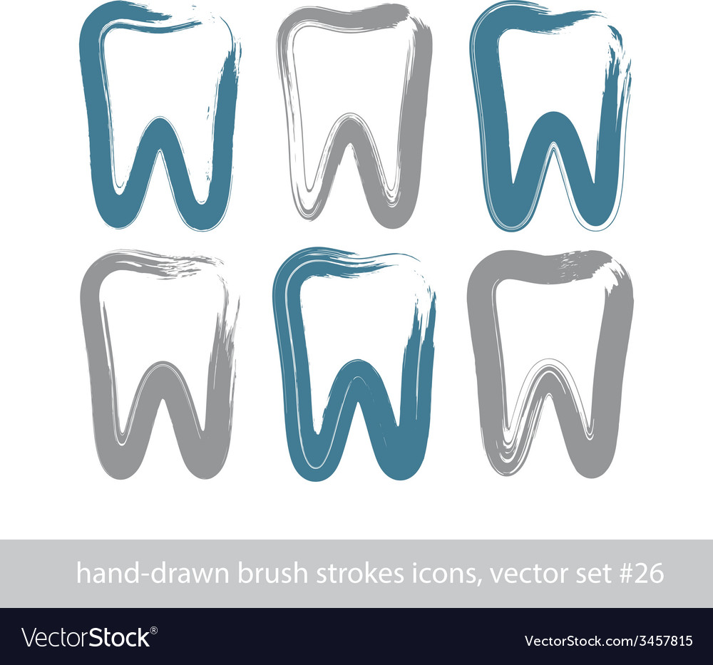 Set of stroke hand-drawn simple tooth icons real vector | Price: 1 Credit (USD $1)