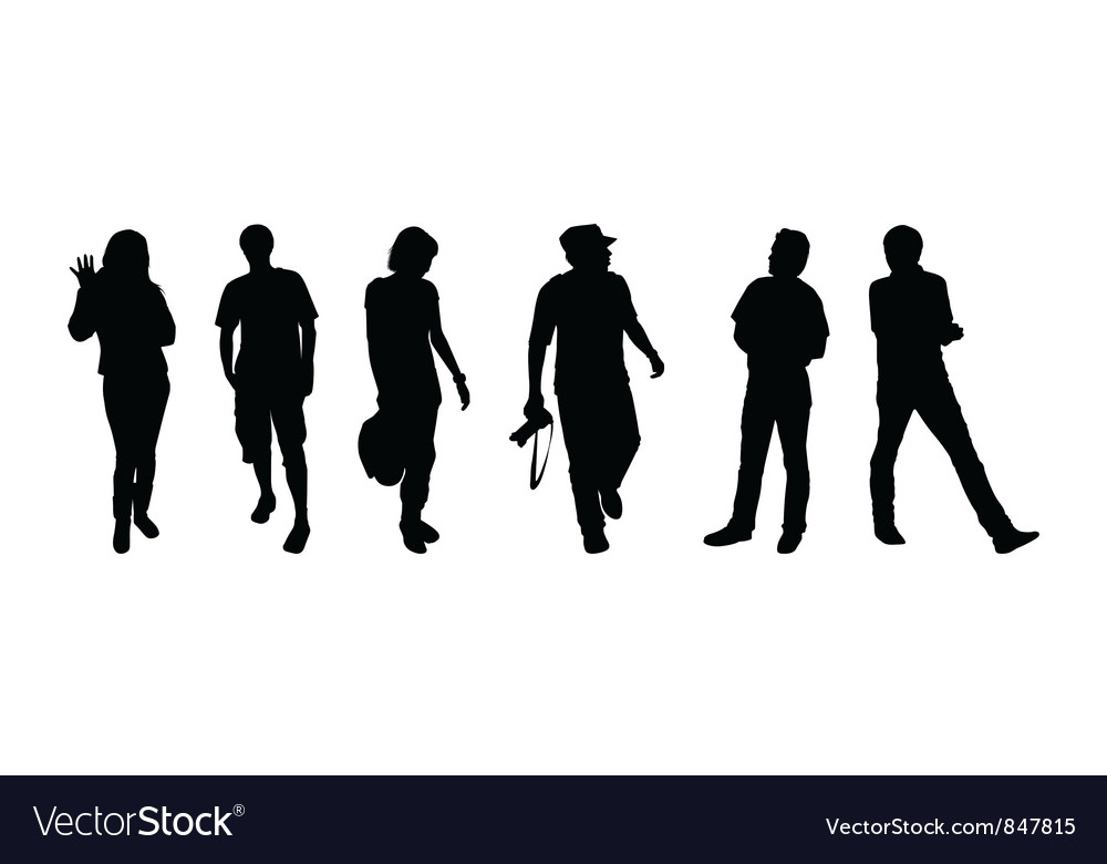 Silhouettes of tourists vector | Price: 1 Credit (USD $1)