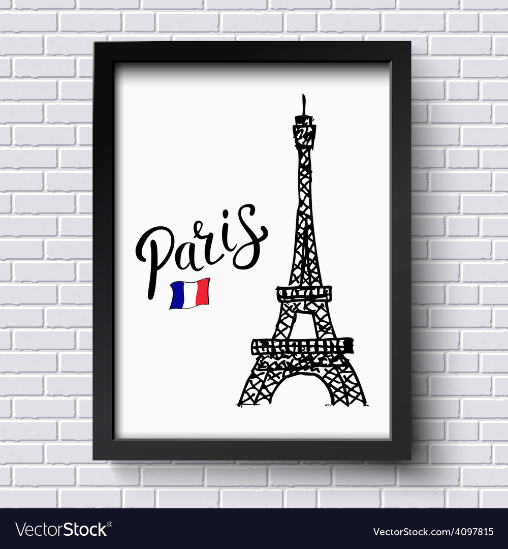 Tourism poster or card design for paris vector | Price: 1 Credit (USD $1)