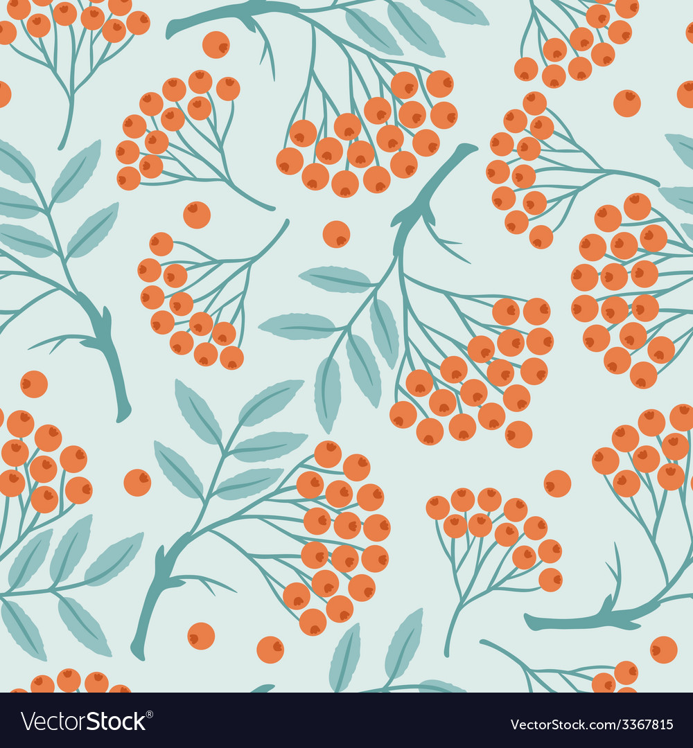 Winter seamless pattern with stylized rowan vector | Price: 1 Credit (USD $1)