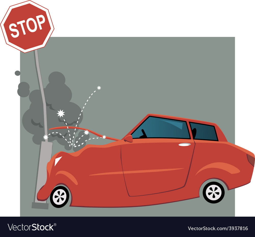 Car crashed into a traffic sign vector | Price: 1 Credit (USD $1)