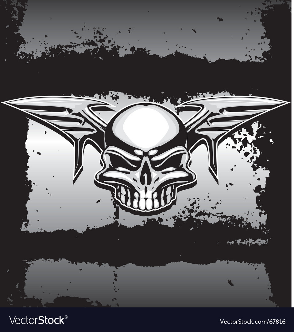 Chrome skull with wings vector | Price: 1 Credit (USD $1)