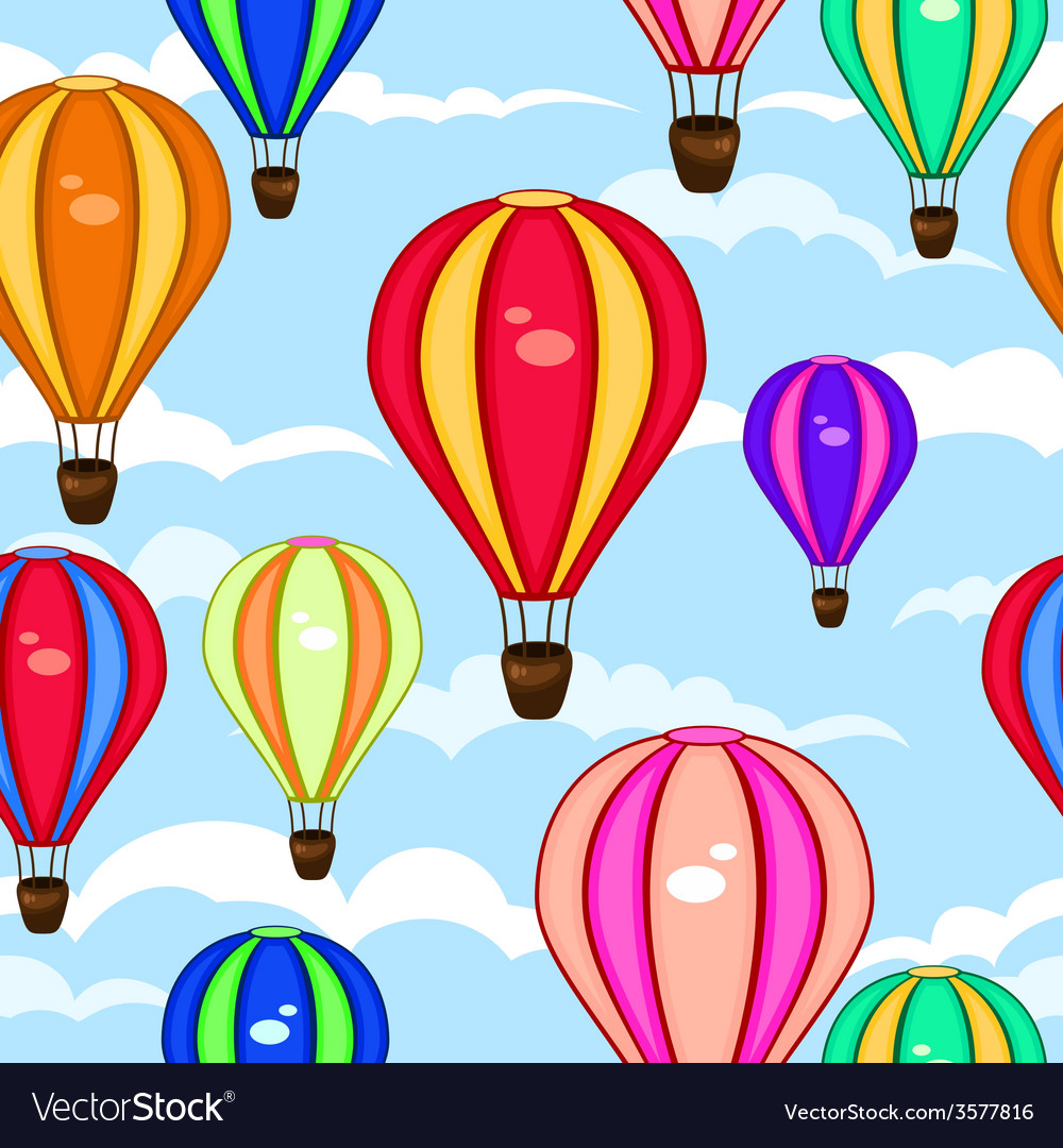 Colorful seamless pattern of hot air balloons vector | Price: 1 Credit (USD $1)
