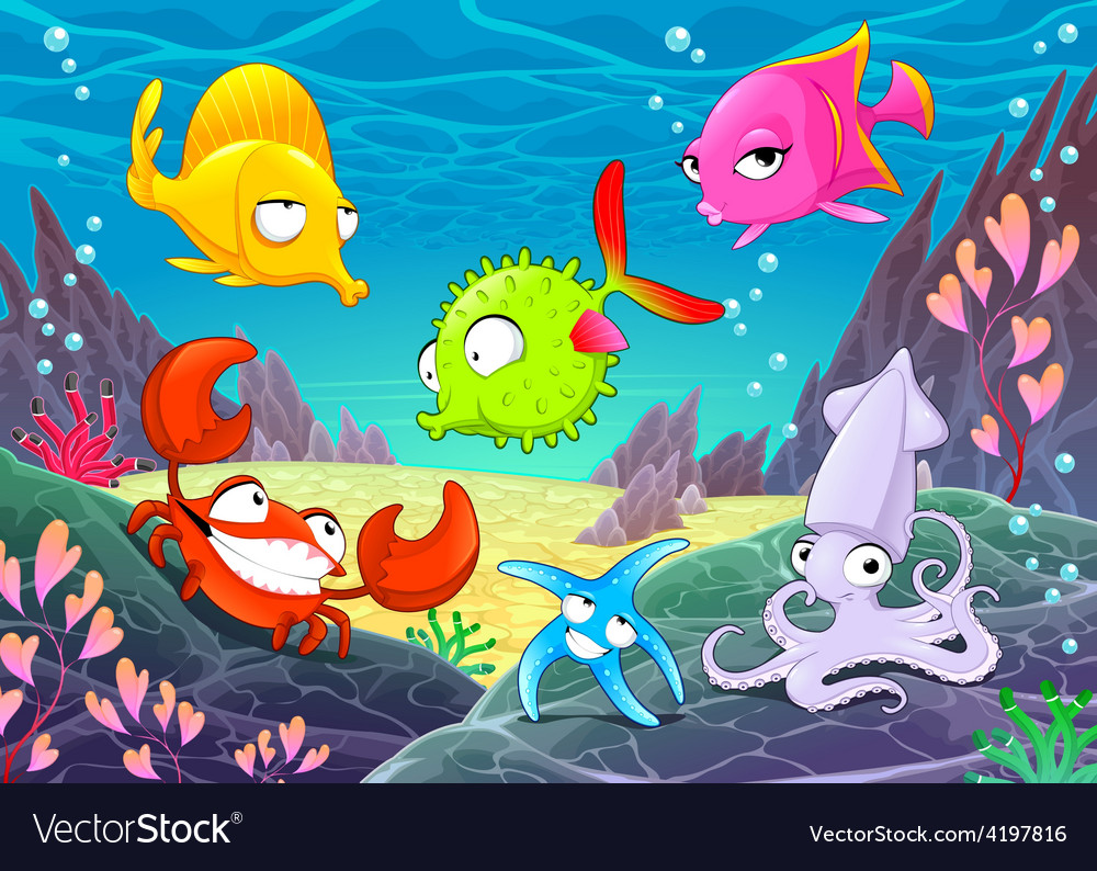 Funny happy animals under the sea vector | Price: 3 Credit (USD $3)
