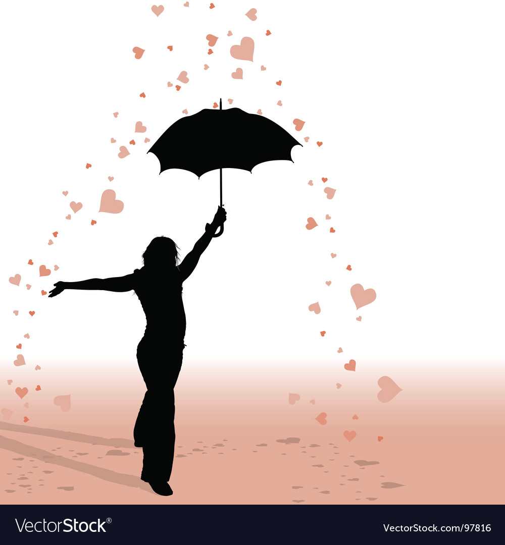 Girl and umbrella vector | Price: 1 Credit (USD $1)