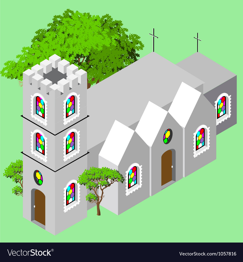 Isometric castle church vector | Price: 1 Credit (USD $1)