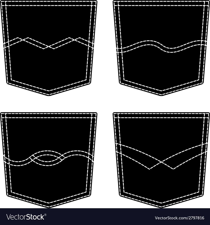 Jeans pocket black symbols vector | Price: 1 Credit (USD $1)