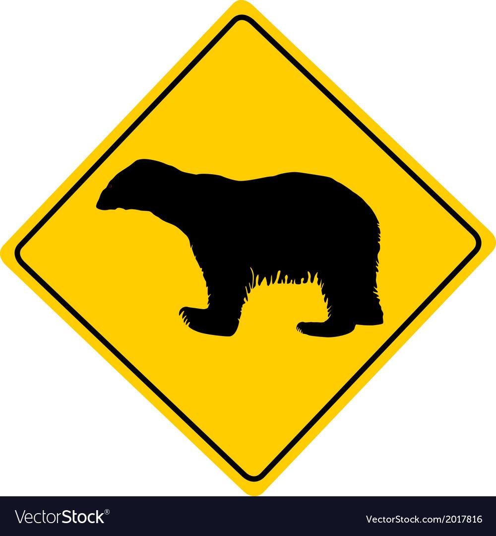 Polar bear warning sign vector | Price: 1 Credit (USD $1)