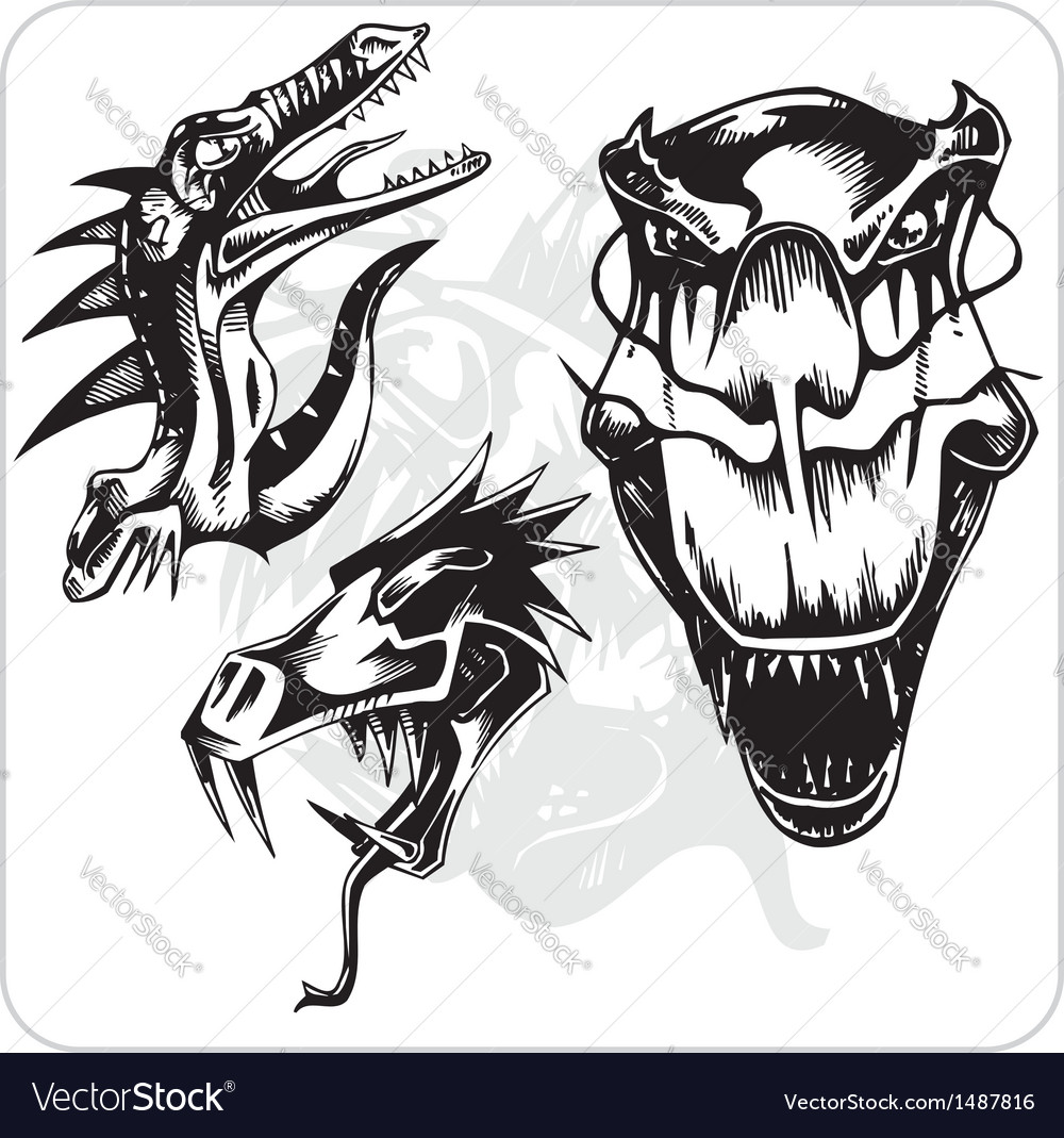 Set - aggressive dragon vector | Price: 1 Credit (USD $1)