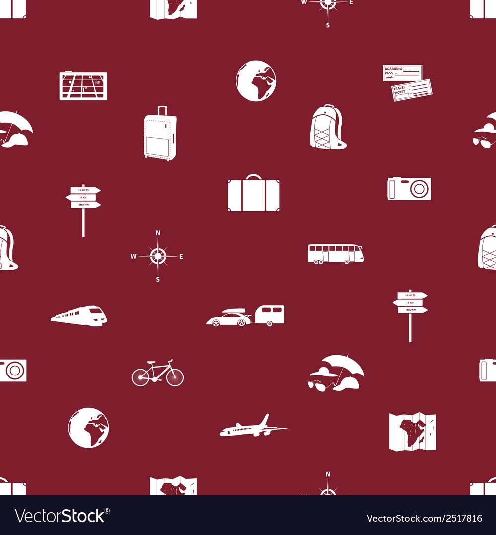 Travelling icons seamless pattern eps10 vector | Price: 1 Credit (USD $1)