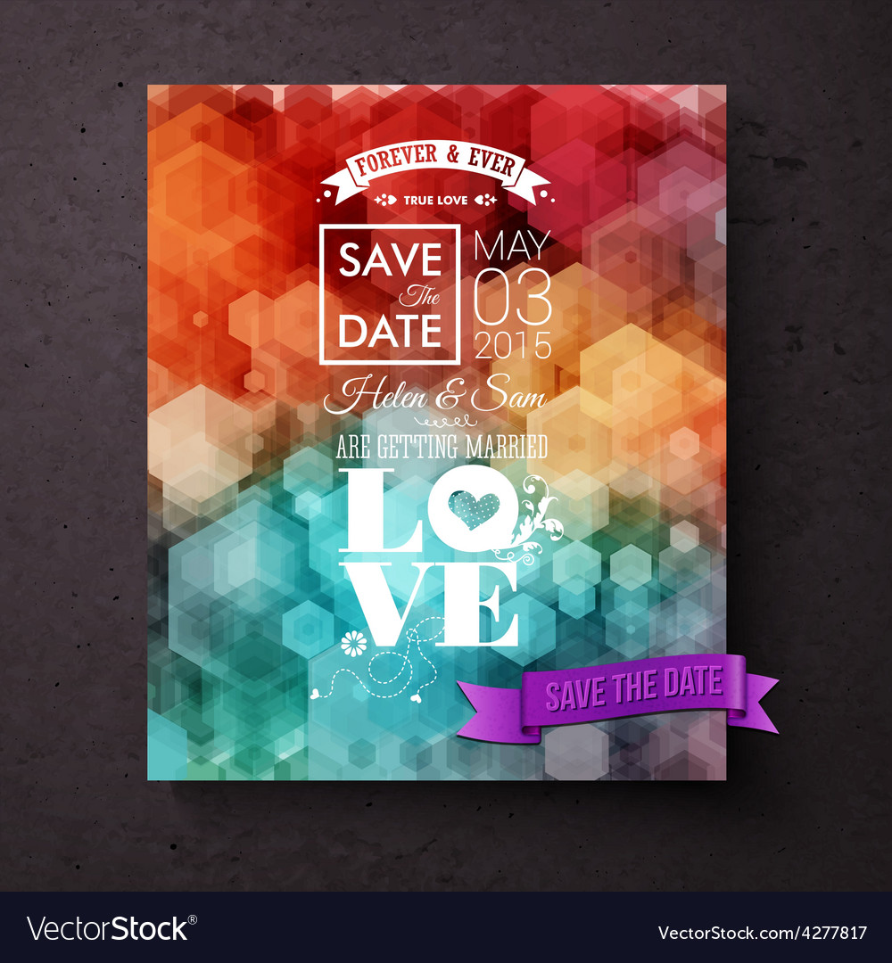 Artistic save the date wedding invitation template vector | Price: 1 Credit (USD $1)