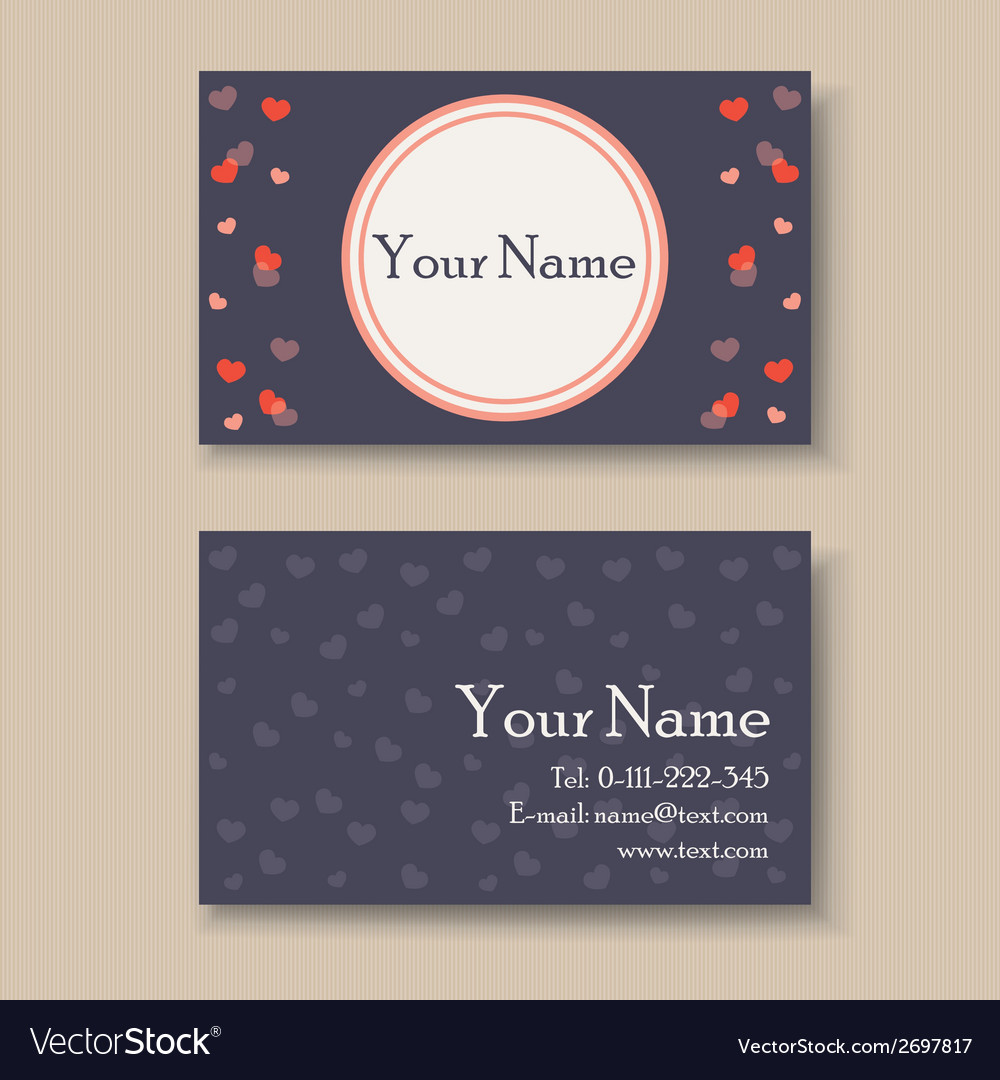 Business card with hearts vector | Price: 1 Credit (USD $1)