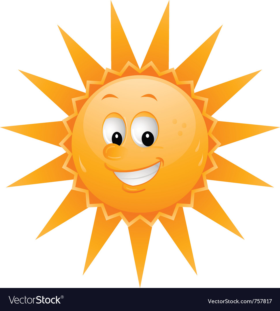 Cartoon sun smiley face vector | Price: 1 Credit (USD $1)