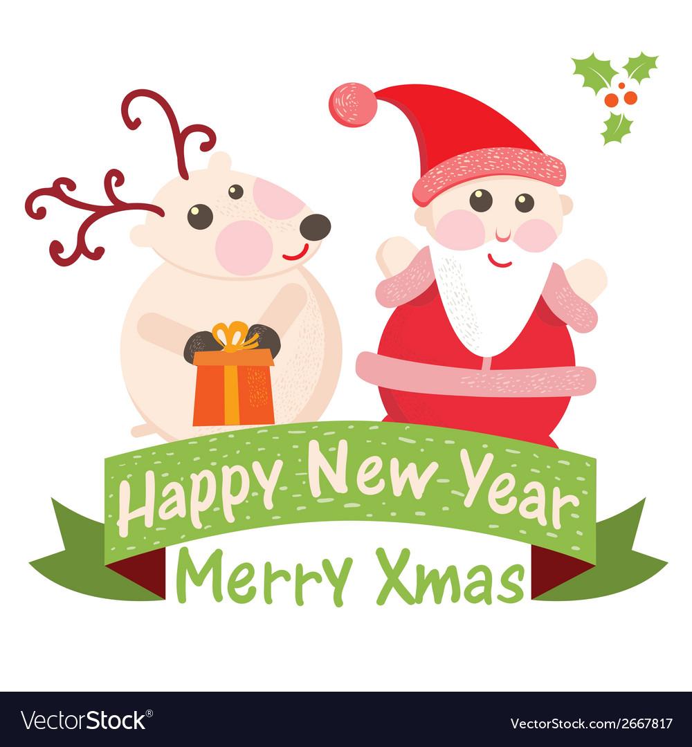 Christmas and new year greeting card santa claus vector   Price: 1 Credit (USD $1)