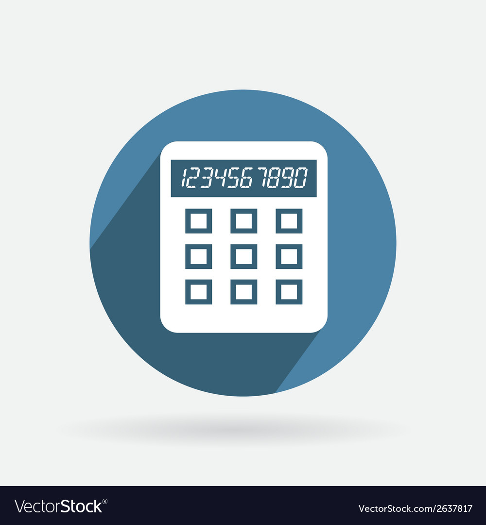Circle blue icon with shadow calculator vector | Price: 1 Credit (USD $1)