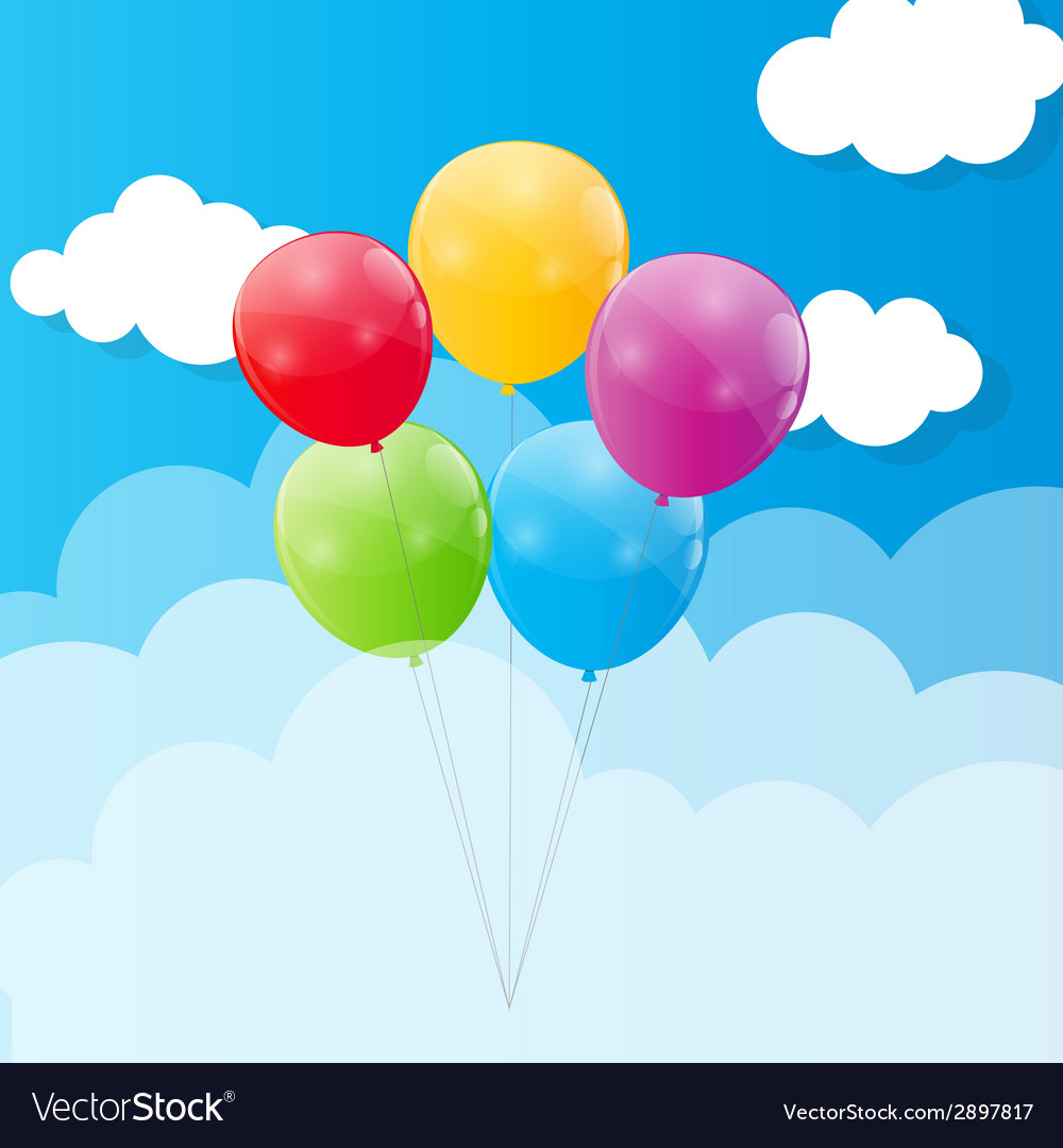 Color glossy balloons against blu sky background vector | Price: 1 Credit (USD $1)