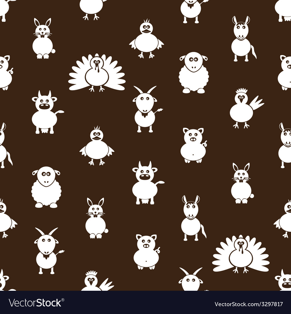 Farm animals simple icons seamless pattern eps10 vector | Price: 1 Credit (USD $1)
