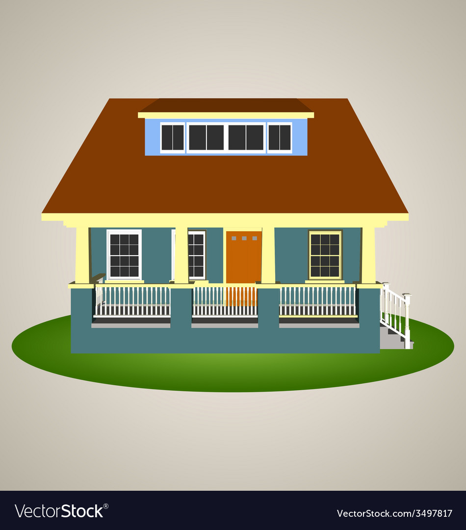 Front view house 3 vector | Price: 1 Credit (USD $1)