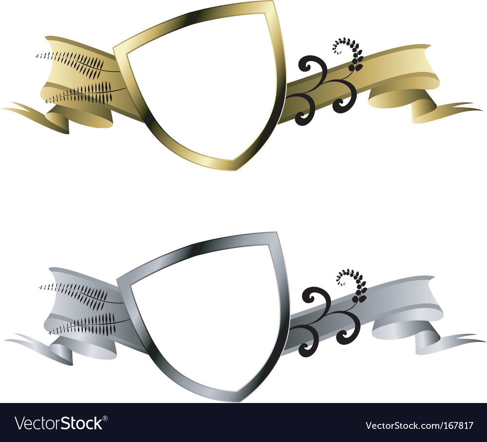 Gold and silver shields vector | Price: 1 Credit (USD $1)