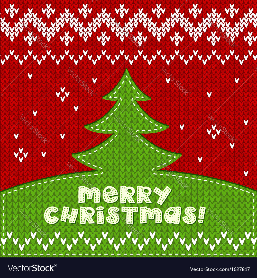 Green knitted christmas tree applique background vector | Price: 1 Credit (USD $1)