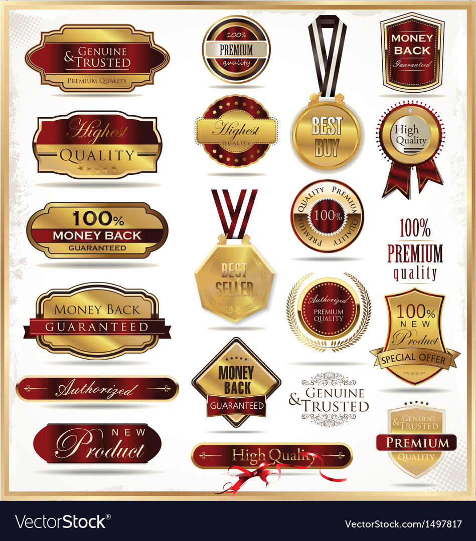 Luxury golden labels vector | Price: 3 Credit (USD $3)