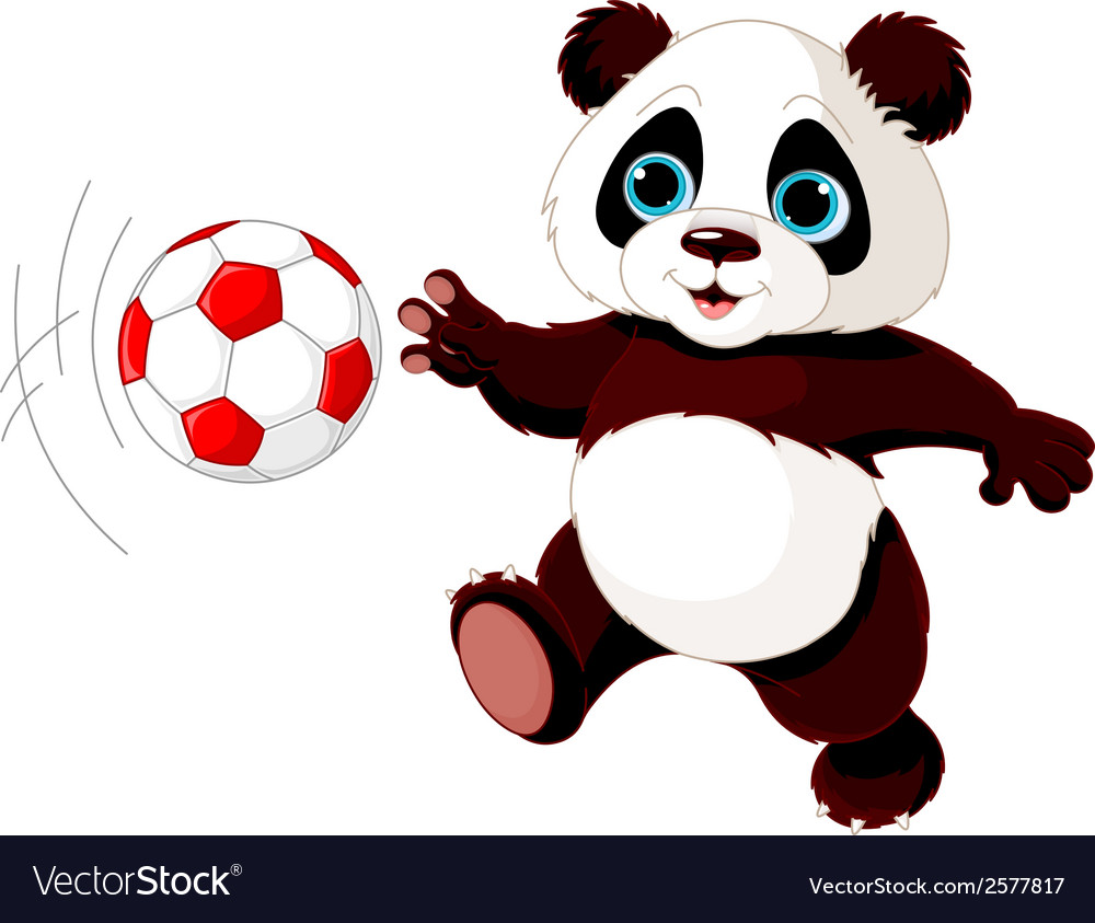 Panda hits the ball vector | Price: 1 Credit (USD $1)