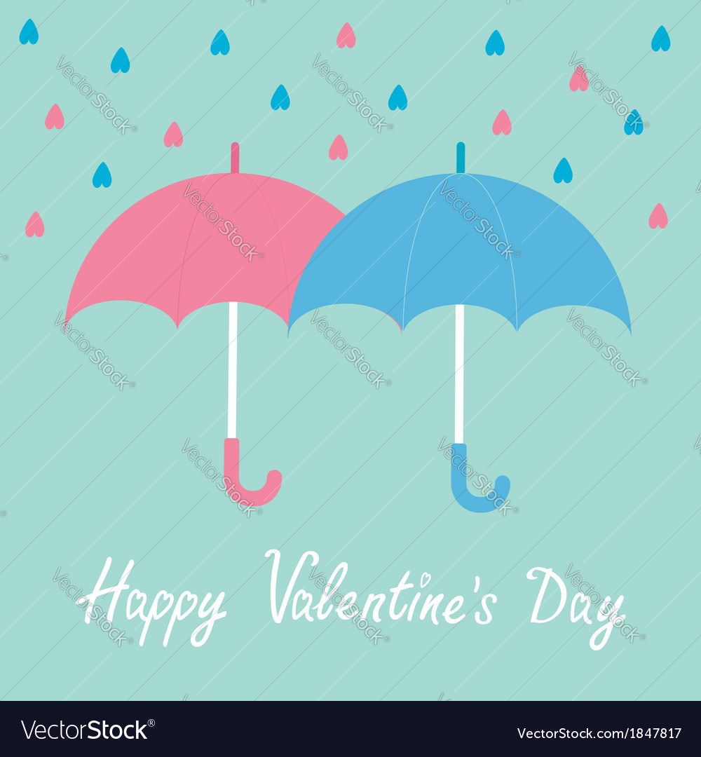 Pink and blue umbrellas rain happy valentines day vector | Price: 1 Credit (USD $1)