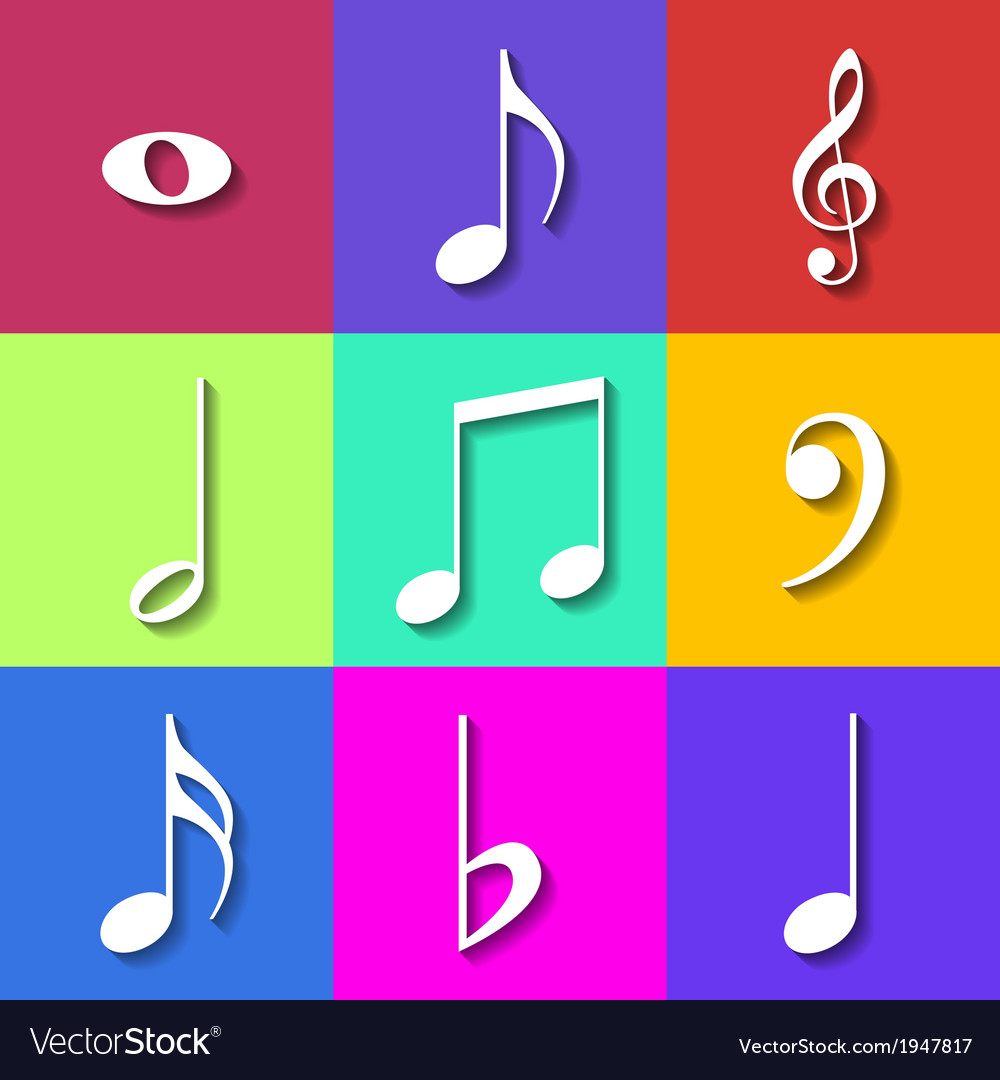 Set of flat music notes icons vector | Price: 1 Credit (USD $1)
