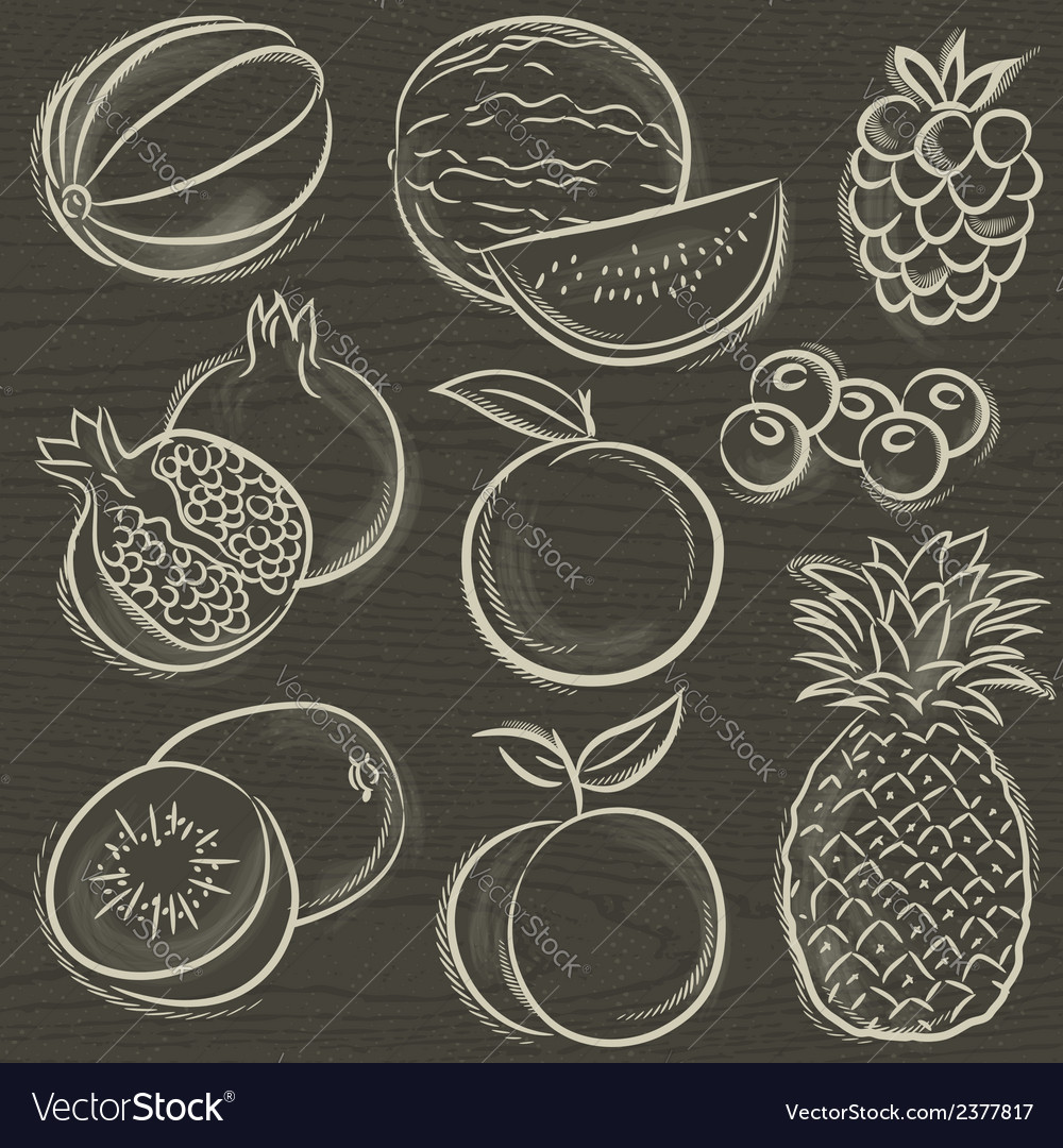 Set of fruits melon watermelon blackberry peach vector | Price: 1 Credit (USD $1)