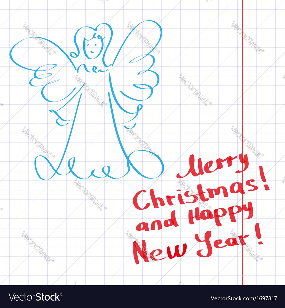 Sketchy christmas angel vector | Price: 1 Credit (USD $1)