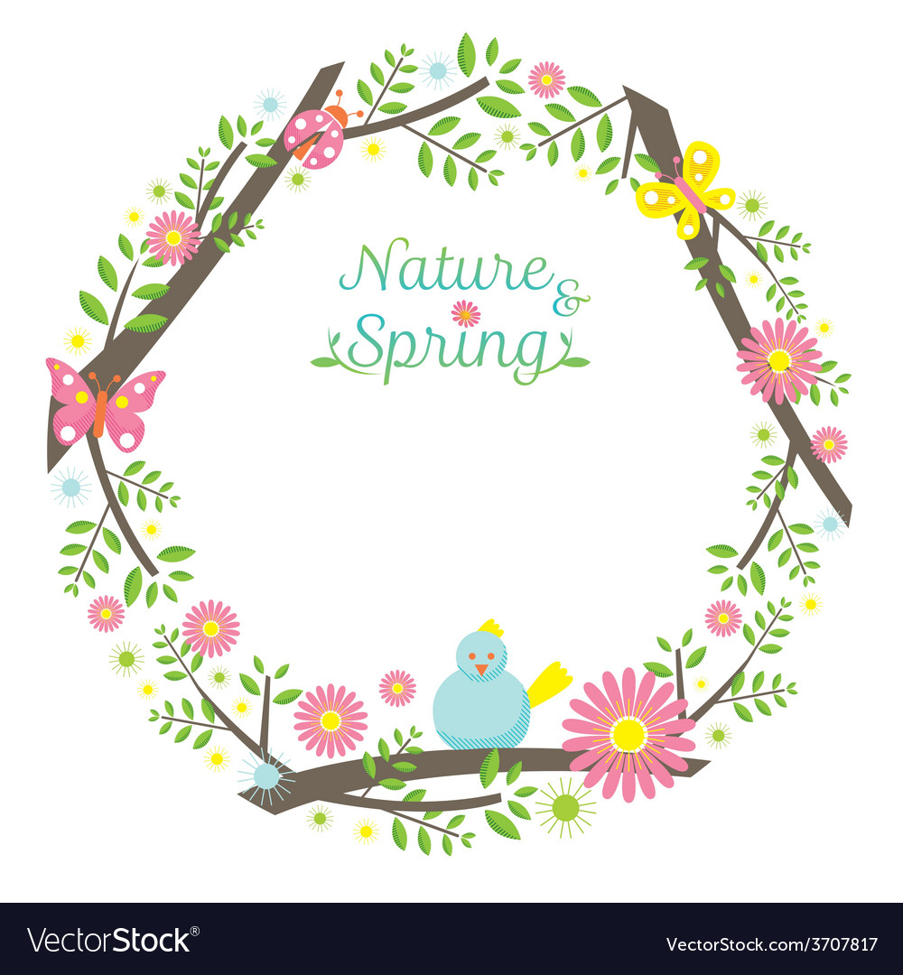 Spring season icons wreath vector | Price: 1 Credit (USD $1)