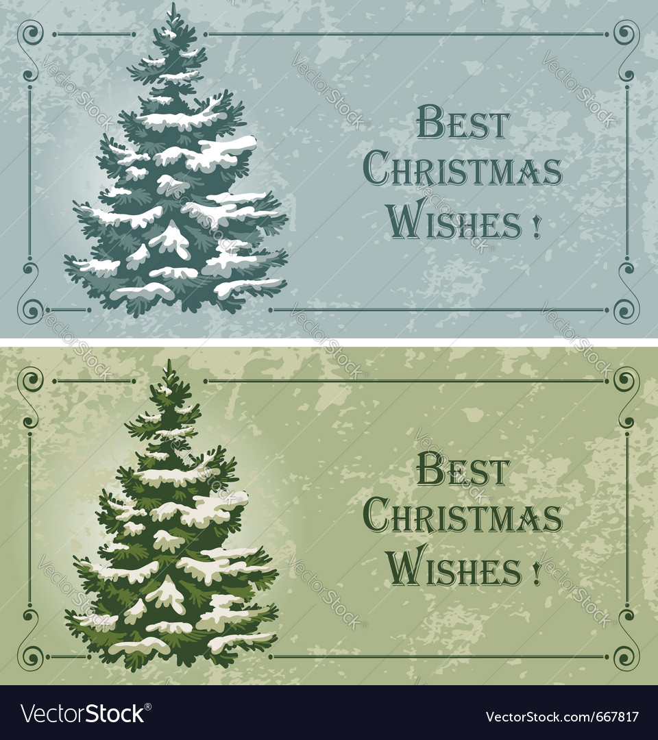Vintage christmas cards with spruce in the snow vector | Price: 3 Credit (USD $3)