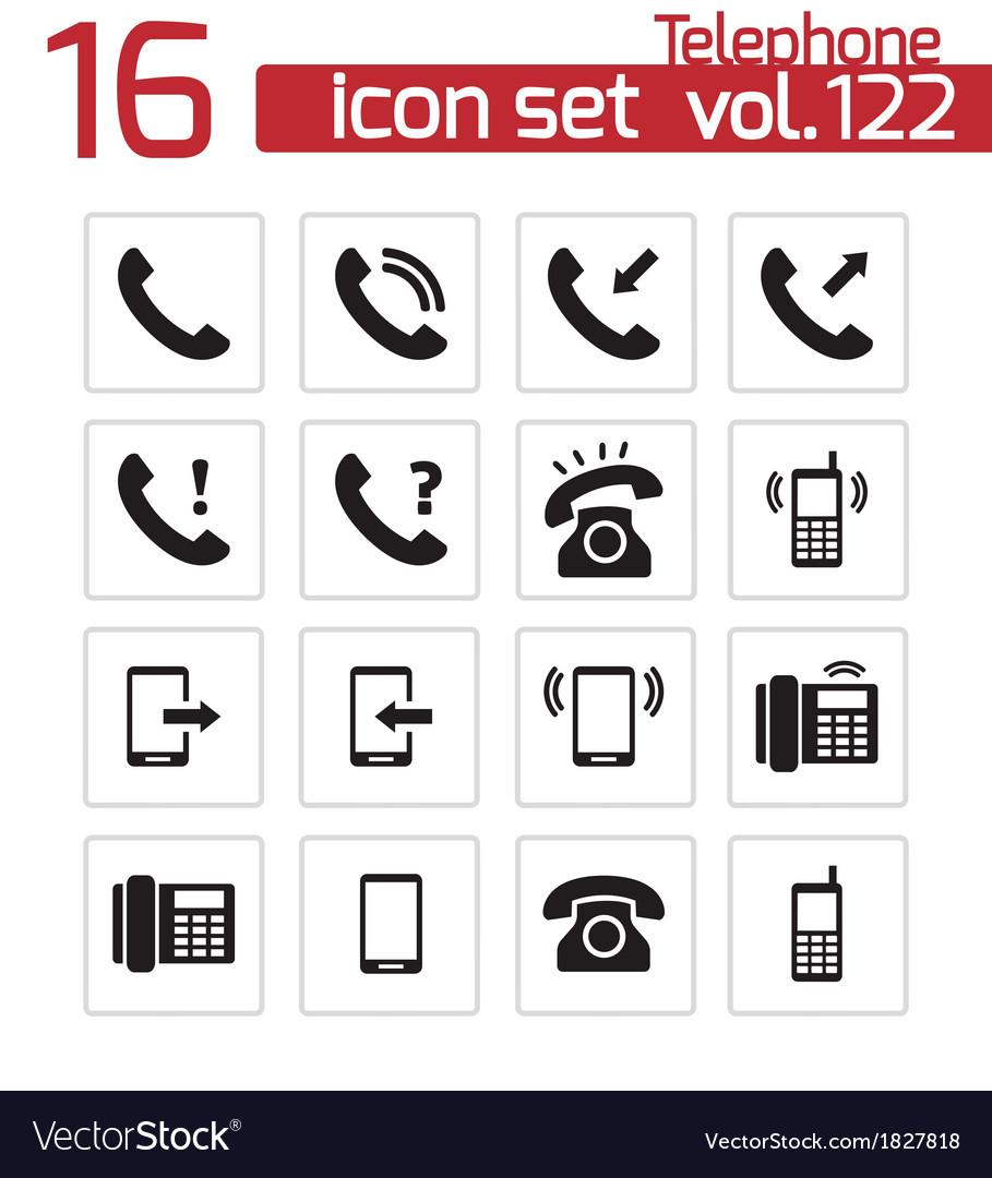 Black telephone icons set vector   Price: 1 Credit (USD $1)