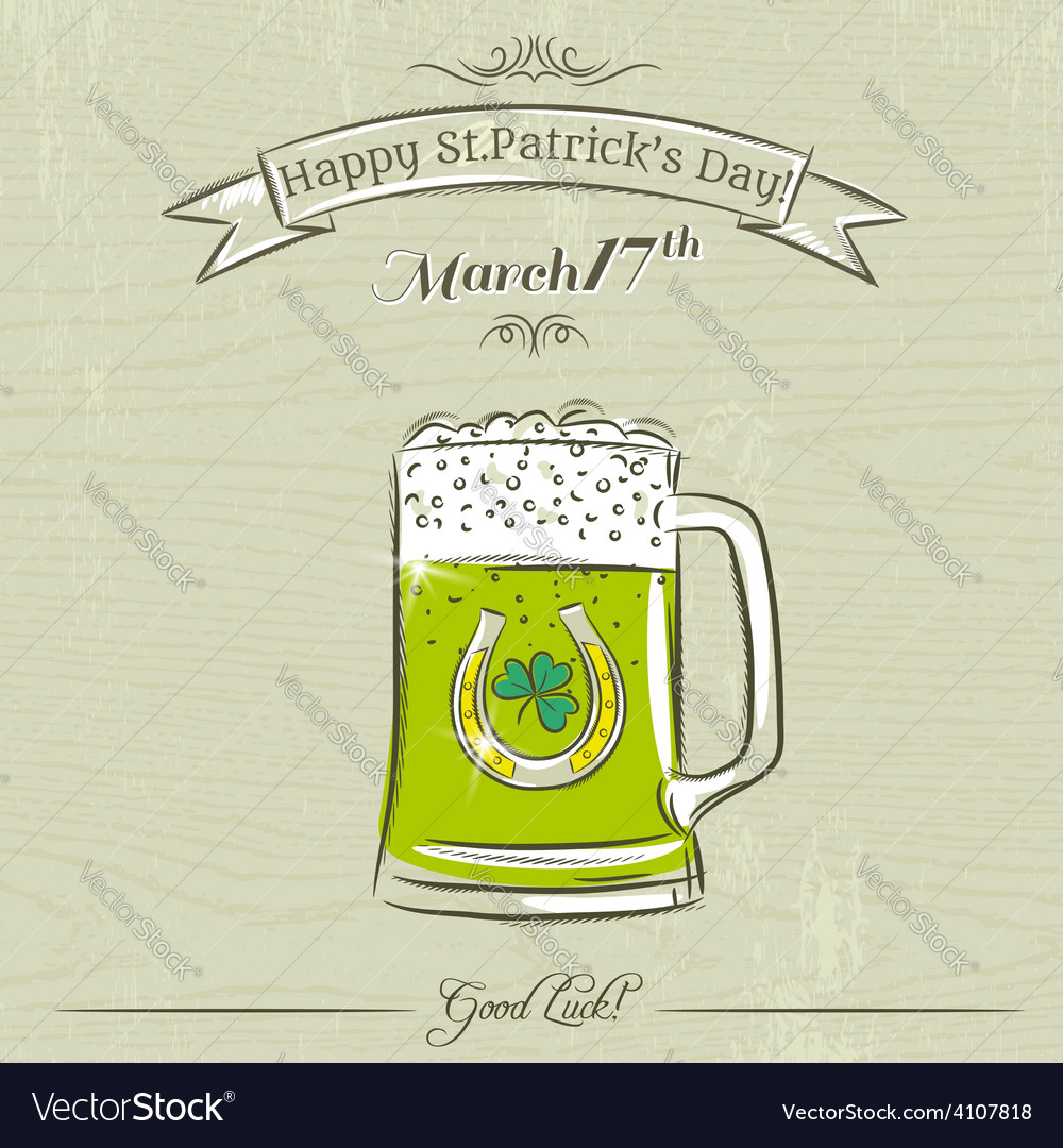 Card for st patricks day with green beer mug vector | Price: 1 Credit (USD $1)