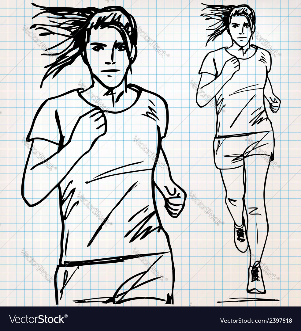 Female runner sketch vector | Price: 1 Credit (USD $1)