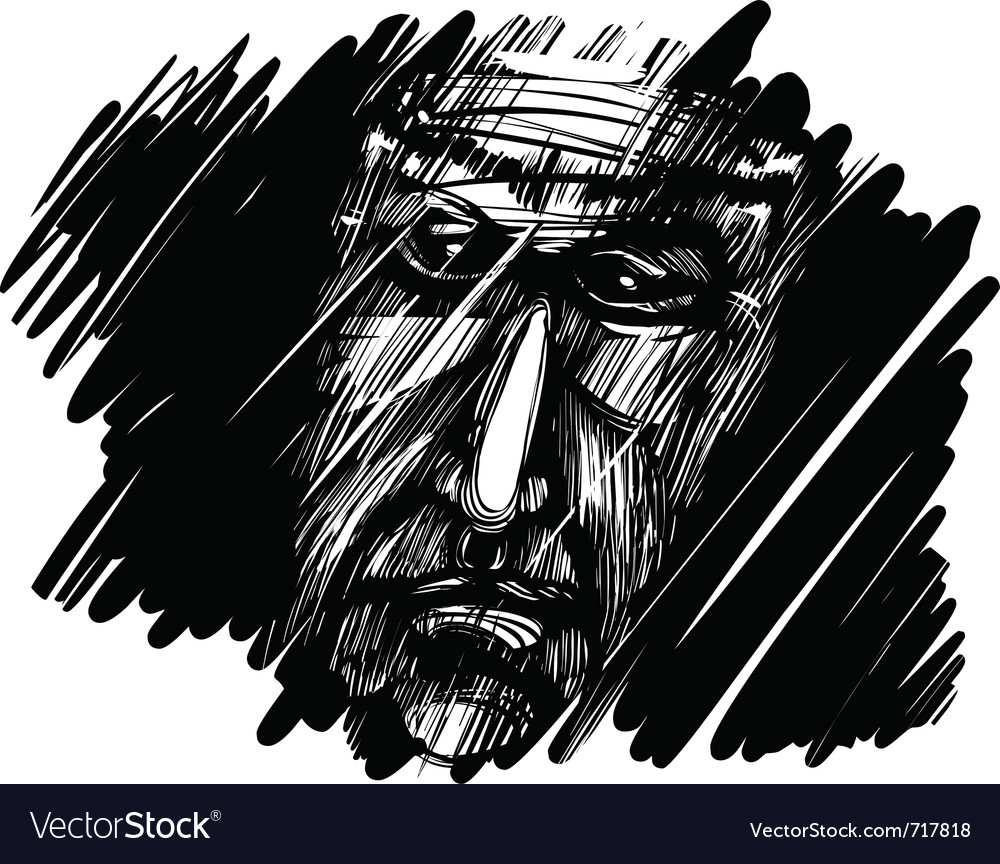 Old mans face in the dark vector | Price: 1 Credit (USD $1)