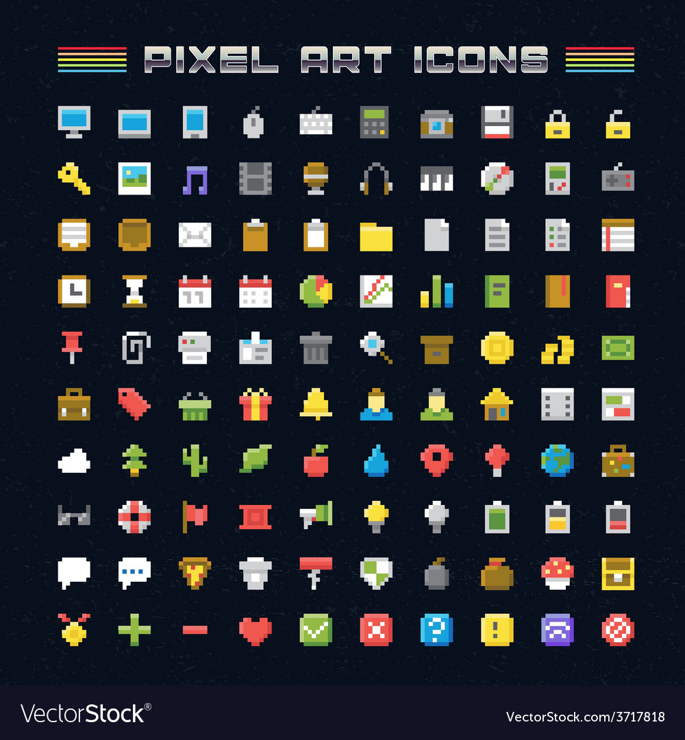 Pixel art icons vector | Price: 1 Credit (USD $1)
