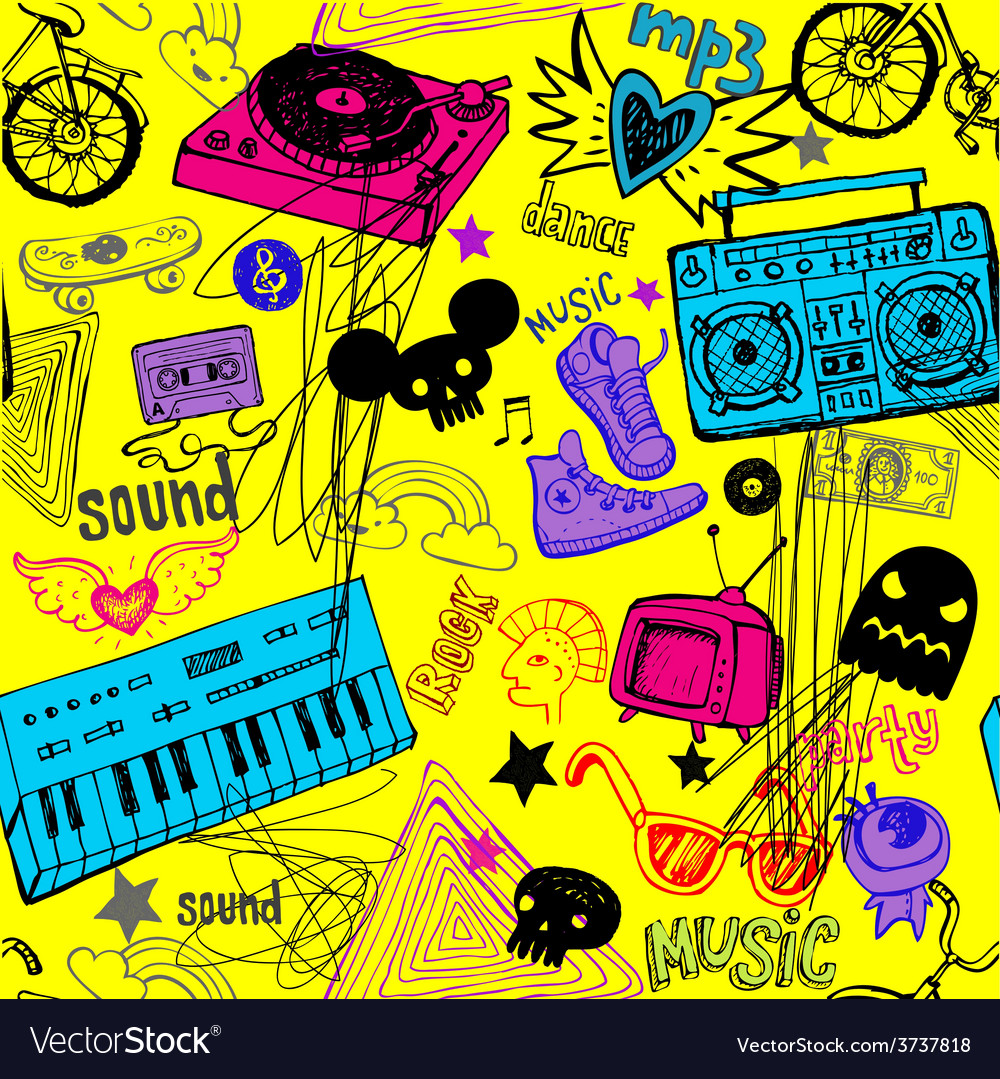 Seamless yellow music background vector | Price: 1 Credit (USD $1)